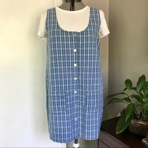 Vintage Cherokee Jean Jumper Dress, Blue Plaid
